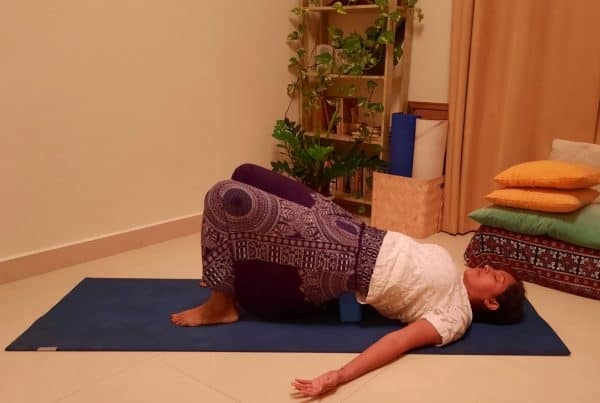 Assisted-Bridge Setubandhasana Yoga for healthy thyroid
