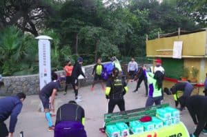 Members of the RunXtreme warming up before the ADHM 2020